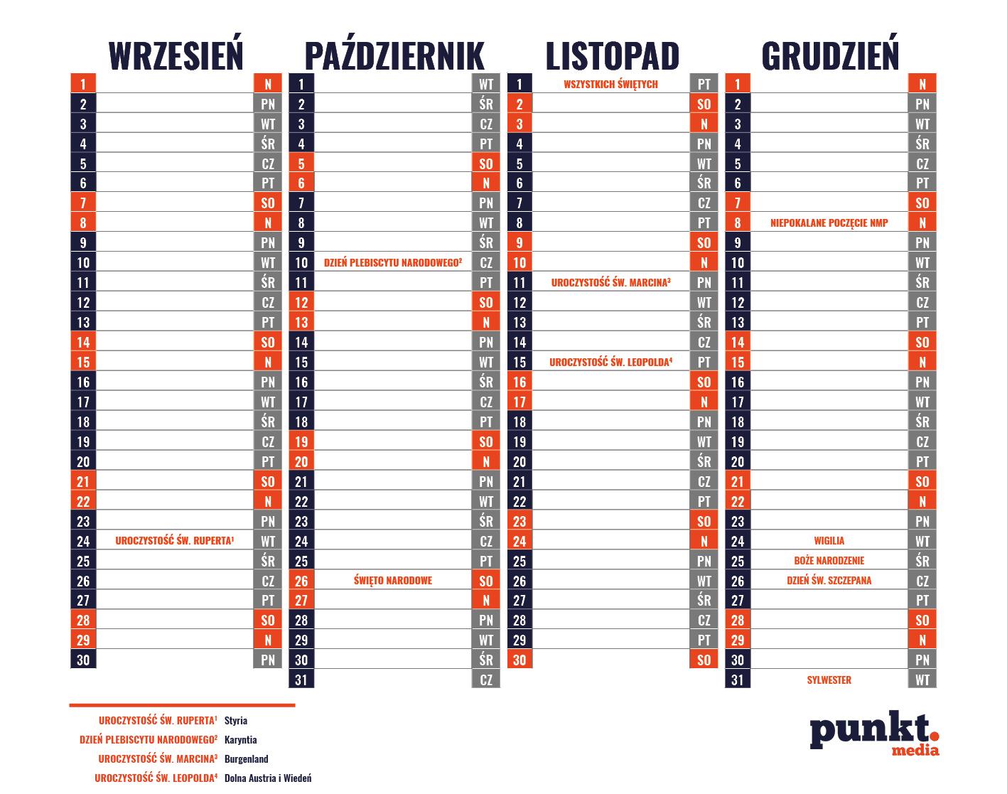 Swieta I Dni Wolne Od Pracy W Austrii W 2019 Roku